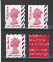 Worldwide up to 40 grams worth £2.55 die-cut stamps